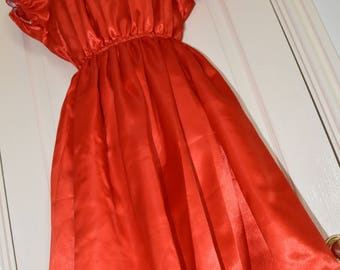 Bright red pretty little silky satin sissy dress, Sissy Lingerie