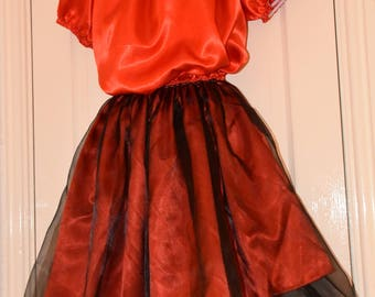 Pretty little red silky satin sissy dress with black sheer overskirt, XL sizing, Sissy Lingerie