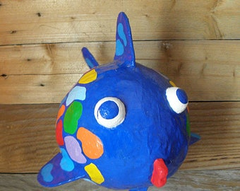 Paper Mache Blue Fish, Blue Hanging Fish, Handmade Blue Fish, Fish Nursery Decor, Kids Fish Gift, Blue Fish Decor, Hanging Fish Sculpture