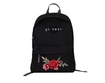 Simple Go Away Rose Patch School backpack rockabilly flowers black comfortable bitchy caption cool fashion stylish elegant instagram trendy