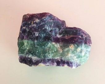 Large Fluorite RAW Crystal Stone / Rainbow, Green, Purple Fluorite