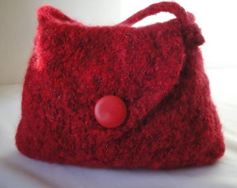 red felted handbag, felted red bag, cherry red purse, knitted felt bag, wool felt purse, OOAK felt handag, button-flap handbag, handknit bag