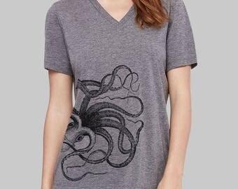 Octopus, V Neck T Shirt, Octopus Shirt, v neck shirt, women, v neck tshirt, womens, graphic tees, v neck, screen print shirt
