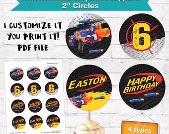 Dart Cupcake Toppers Labels 2 Inch Dart  Wars Birthday Party Darts Dart  Decorations Printables Supplies - Customized Digital File