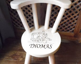 Personalised Handmade Hardwood Wooden Child's Chair In Beech