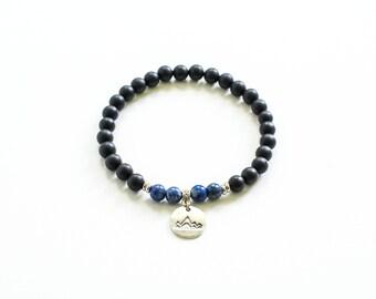 Black matte bracelet, Bracelet for him, Minimalist bracelet, Mala bracelet, Stretch bracelet, Boyfriend bracelet, Wanderlust bracelet, Mens