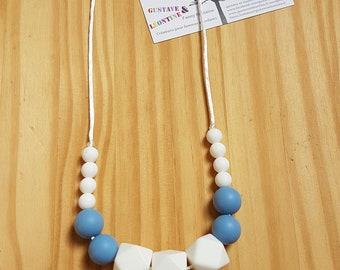 Breathfeeding necklace grey etwhite