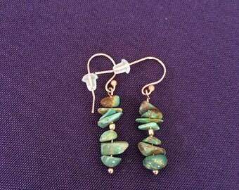 Copper, Turquoise Earrings, Boho Summer, Handmade, Original