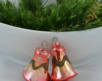 Vintage West German Glass Bell Christmas Ornaments, Mid Century Red And Gold Ombre Ornament With Dots and Glitter