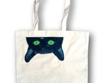 Tote, Black Cat Tote, Peeking Cat, Cat Lover Gift, Cat Gift Idea, Canvas Handbag Tote, Personalized Tote, Weekender Bag, Grocery Bag, Kitty