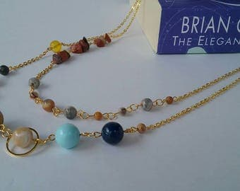 Solar System Necklace - Gold - Multistrand - Gemstone Mix - Solar System Jewelry - MADE TO ORDER