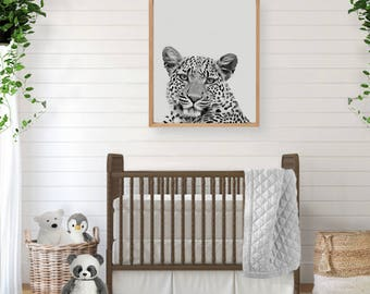 Leopard Print, Safari Nursery Art, Animal Wall Art, Black and White, Printable Poster, Watercolor Print, Instant Download, Kids Room Decor