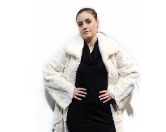 Mink Sheared Pieces Coat,Big Sizes Fur Coat F331