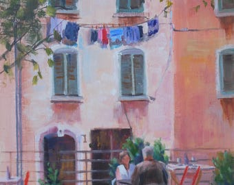 France Landscape, Oil Painting, Cafe Painting, Marseilles, Southern France, French, Canvas, Oil on Canvas, Original Paintings, Sue Whitney