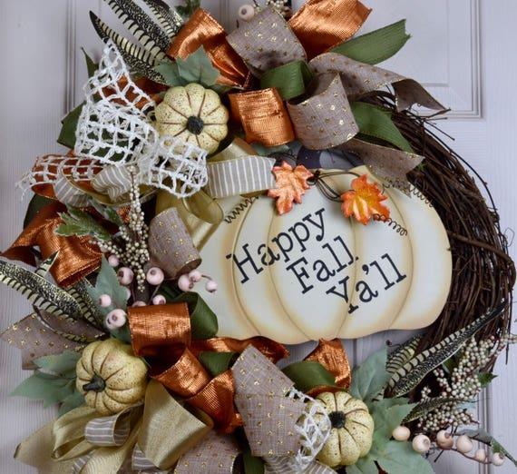 Happy Fall Ya'll Grapevine with Cream Pumpkins Berries and Bows; Autumn Wreath Door Decor; Fall Door Decor; Orange Green Beige Cream Wreath