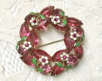 Vintage Pink Rhinestone Enamel Flower Wreath Brooch Pin