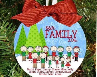 Snow Family Christmas Ornament, Character Ornament, Personalized Ornament, Xmas Ornament, Christmas Gift, Holiday Gift
