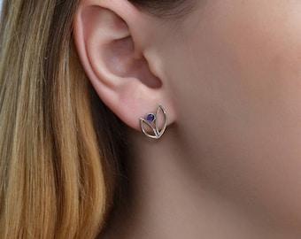 Amethyst Stud Earrings Silver, Amethyst earring studs, 20 gauge cartilage earring stud, Post earrings, Helix earring stud, Conch jewelry