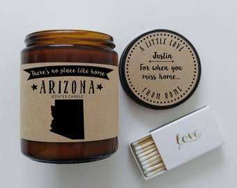 Arizona Scented Candle Missing Home Homesick Gift Moving Gift New Home Gift No Place Like Home State Candle Miss You Gift Christmas Gift