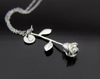 Rose Necklace, Rose Pendants Necklace, Initial Necklace, Rose Necklace with Initial Charm, Silver Rose Charm Necklace, Personalized Necklace