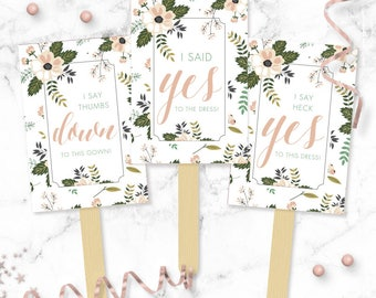 Floral Say YES To The Dress Paddles - Wedding Dress Shopping Signs - Yes No Paddles