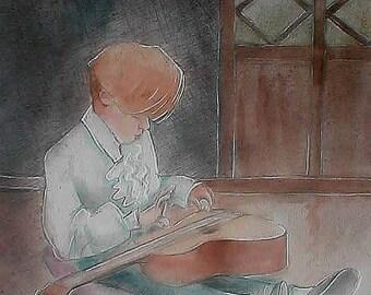 "Painting ""tportrait of a little guitarist"": Watercolored graphite drawing   child 's portrait with a  rabbit  30x30cm- Arches paper paper"