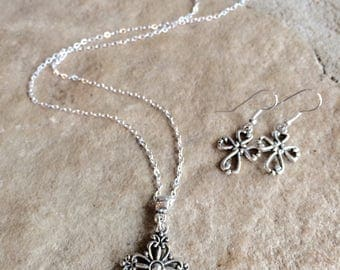 Antique silver cross pendant necklace with cross earrings