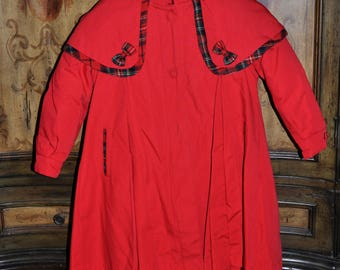 Child's Vintage Red Rothschild Capelet Coat Removable Plaid Lining & Hood, Girls Red Coat, Rothschild Caplet Coat, Rothschild Red Coat