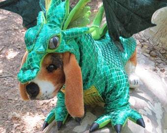 XL Green Dragon costume for Dogs by TKCCOZYPAWZ