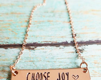 Choose Joy Necklace - Inspirational Necklace - Rose Gold Bar Necklace - Custom Stamped Bar Necklace - Personalized Bar Necklace - Rose Gold