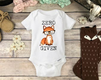 Baby Fox Onesies® Brand or Carter's® Bodysuit - Boho Hipster Baby Clothes Cute for Baby Girl or Boy For Fox Sake Funny Baby ZERO FOX GIVEN