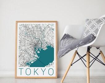 Tokyo City Map / Tokyo Map / Tokyo Poster / Tokyo Print / Tokyo Art / Travel Art / Travel Poster / Map of Tokyo/ Japan Poster / Wall Art