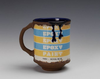 "Porcelain Mug ""Epoxy Paint"" w/ Blue liner glaze"