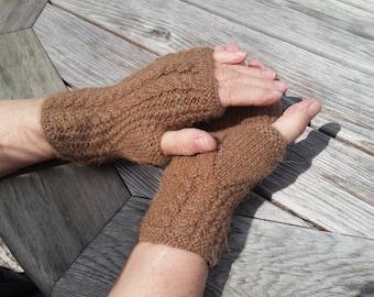 Alpaca 100%, Fingerless Glove, Cable Back, Cinnamon Melange, Women's, Small/Medium