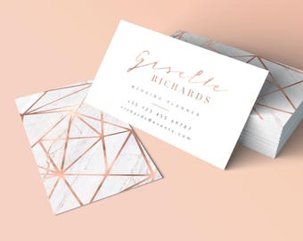 Rose Gold Business Card, Geometric Business Card, Marble Gold Rose, Printable Customizable Business card, Stationery, Branding