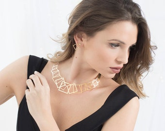 Gold Collar Necklace, Geometric Necklace, Bridal Necklace, Bridal Jewelry, Gold Necklace, Collar Necklace Geometric, Statement Necklace