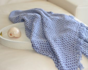 Lovely Violet and Baby Blue Linen Blanket. Double sided. As shawl or home decor detail. Available in 3 sized. Matching mommy-daughter style
