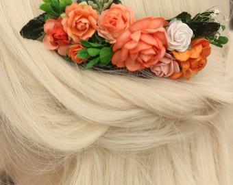 Orange Flower Hair Comb, Bridal Hair Comb Peach and Orange, Ivory Wedding Flower Comb, Bridal Flower Clip, Flower Comb, Rose Floral Comb