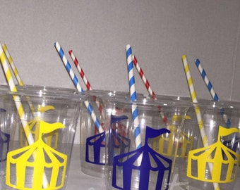 Carnival party cups, carnival party theme, carnival tents, circus tent, circus birthday, circus party cups