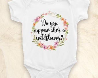 Boho Baby Onesie, Do You Suppose She's a Wildflower? Baby Girl Clothes, Watercolor Wreath, Gift for Baby Shower