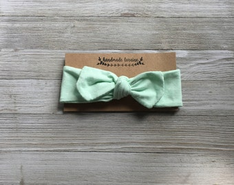 Mint Green Headband, Polka Dot Headband, Top Knot Headband, Baby Headband, Toddler Headband, Stretchy Headband, Adjustable, Organic Cotton