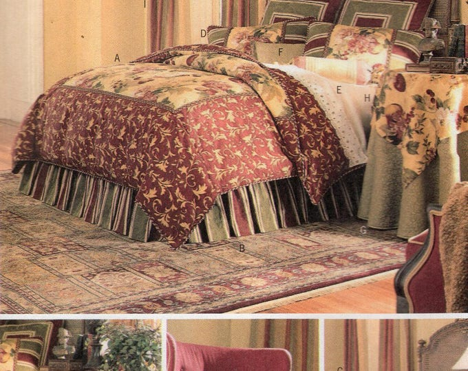 Free Us Ship Sewing Pattern 3559 Waverly Bedding Bed Bedroom Duvet Cover Pillows Tablecloth Dust Ruffle New Home Decoration Uncut