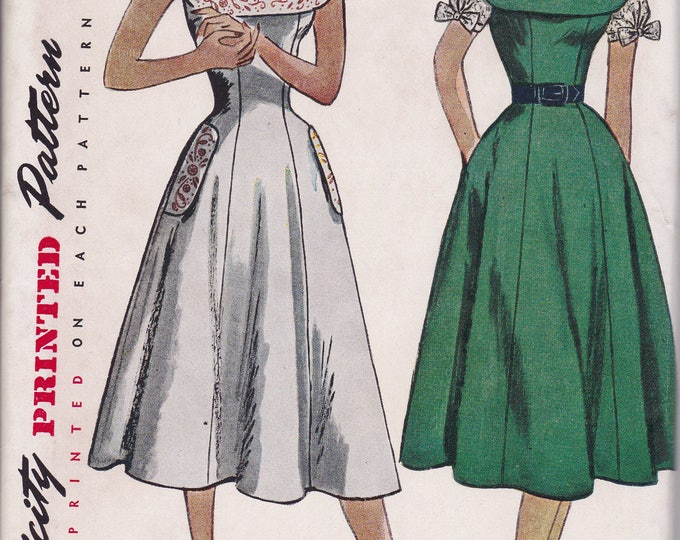 FREE US SHIP Bust 36 Vintage Retro 1950s 50s Original Sewing Pattern Simplicity 3522 Uncut Sundress Gored Embroidery Transfer ff