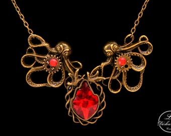 "Rockabilly necklace / Steampunk ""Ruby flame"""
