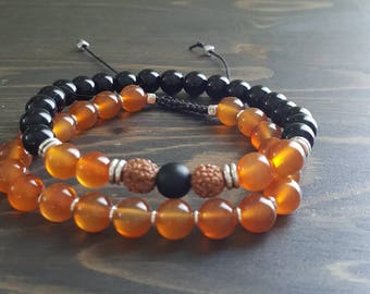 Bracelets for men's gemstone, onyx and carnelian.