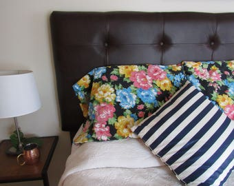 Floral Pillowcases/ Black and Floral Pillow Case/ Vintage Pillow cover