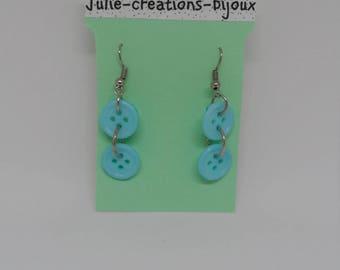 Buttons earrings blue