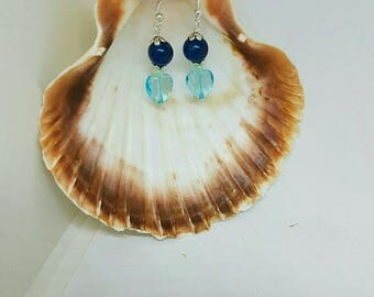 Blue and silver heart Pearl Earrings