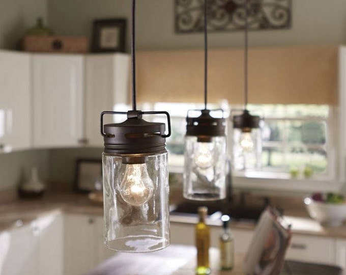 Featured listing image: Pendant Light-Mason Jar Light-Pendant Lighting-Kitchen Island-Jar Lighting-Industrial Lighting-Rustic Lighting-Country Decor-Glass Pendant
