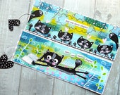 SALE 2 Bookmarks. Blue black cats. Just one more chapter. Hand painted. Cute animals. Book lover. Bookworm. Gift for her